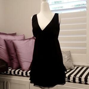 100% silk black mini dress